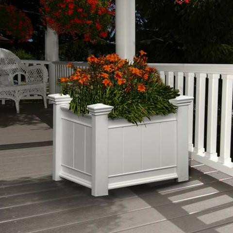 Image of White Wooden Planter Box Filled With Flower Plants