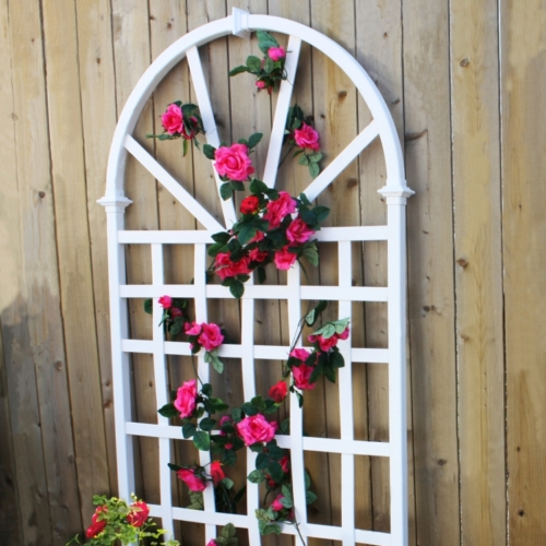 White Wooden Designer Trelly With Hanged Flowers On It